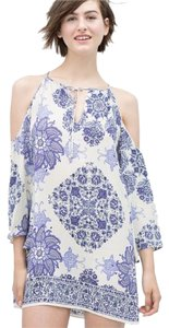 Zara short dress Blue Mosaic Cold Shoulder on Tradesy