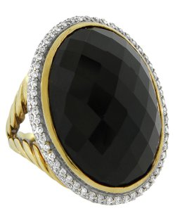 DAVID YURMAN DAVID YURMAN 18K YELLOW GOLD 1.00CT DIAMOND OVAL ONYX RING