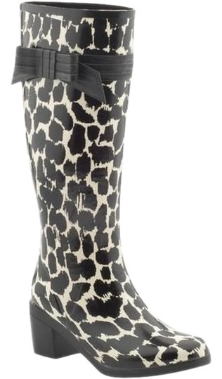 Kate Spade Leopard Rubber Black & Cream Boots