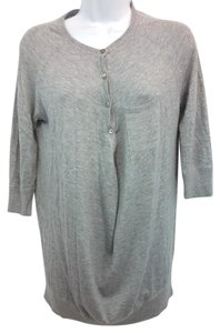 Vince Knit Button Down Shirt Light Gray