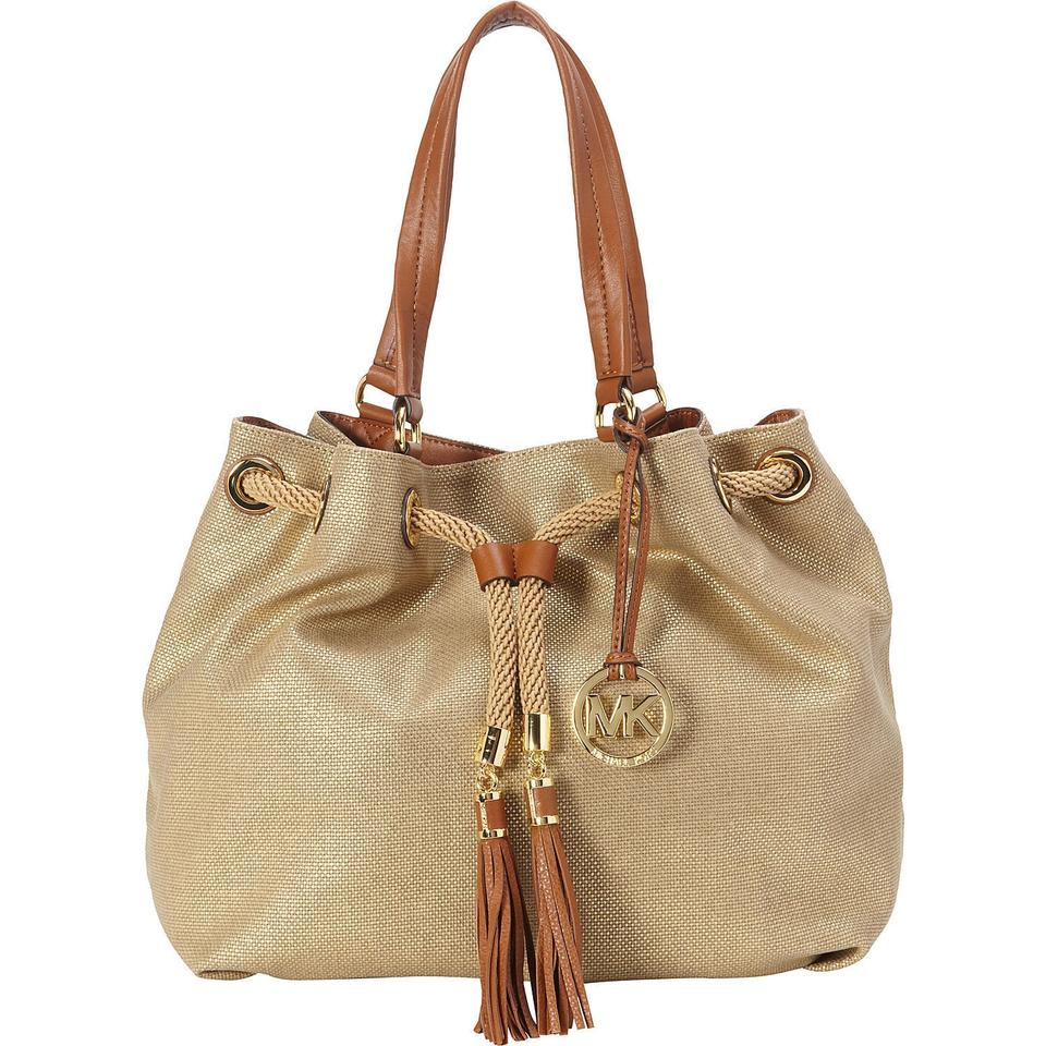 21613ccac3bb Michael Kors Marina Large Gathered Canvas Gold Gold Leather Trim ...