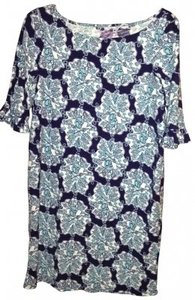 Lilly Pulitzer short dress navy Spring Floral Cotton on Tradesy