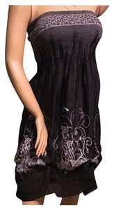 Black Gray Maxi Dress by Lapis Strapless Summer Os
