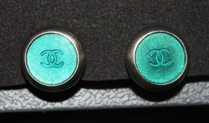 Chanel Chanel CC Logo Silver Teal Turquoise Blue Green Clip On Earring