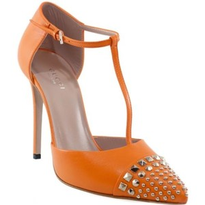 Gucci 370801 Studded Leather High Heels Orange Pumps