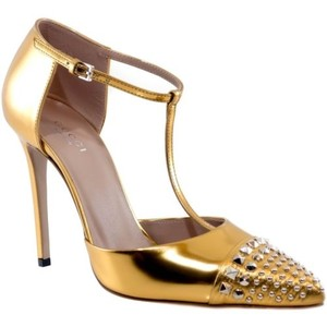 Gucci 370801 Studded Leather High Heels Gold Boots