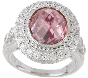 Judith Ripka Judith Ripka Sterling Silver 7.0ct Pink Diamonique Ring with Pave Border - Size 5