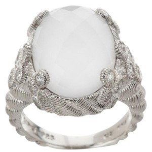 Judith Ripka Judith Ripka Sterling Silver Flora Diamonique and Oval Gemstone Doublet Ring - Size 8