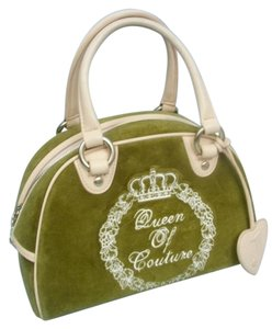 Juicy Couture Queen Velour Satchel in Green & White