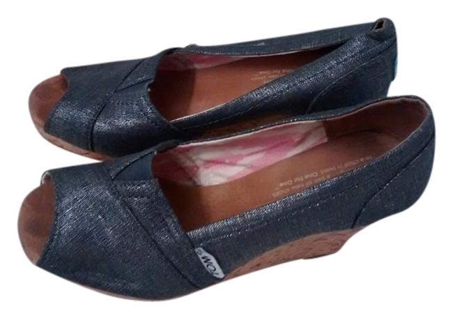 Item - Silver Blue and Cork Wedges Size US 6 Regular (M, B)