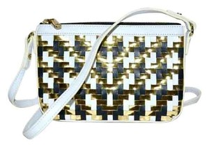 MILLY Woven Leather Mini Dylan Metallic Cross Body Bag