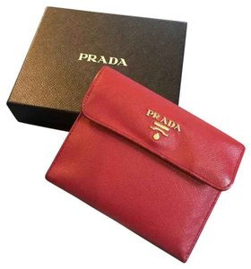 Prada Saffino Leather Trifold French Wallet