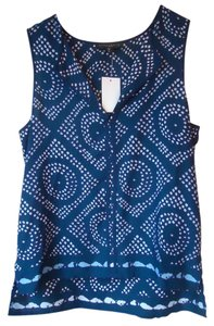 Sanctuary Clothing Navy Print Sleeveless V-neck Top