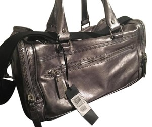 Diesel Duffle Travel Crossbody Gym Leather Metallic Silver Travel Bag