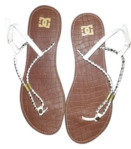 DC Shoes White and Gold Sandals