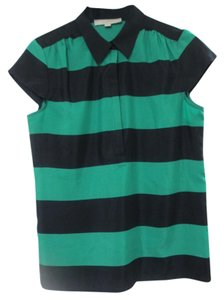 Ann Taylor LOFT Rugby Style Stripes Top green/blue