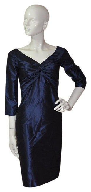 Item - Blue Mother Of The Bride Silk Knee Length Cocktail Dress Size 2 (XS)