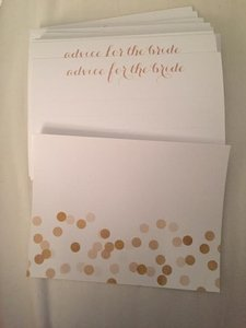 White and Gold Advice For The Bride Cards