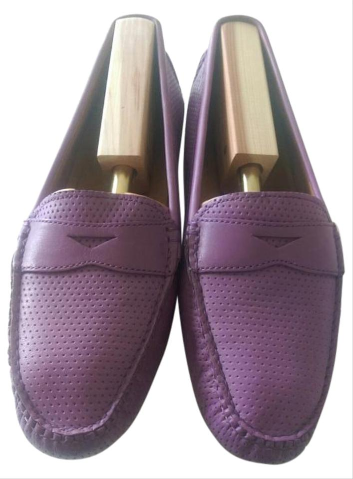 6280835c880 Peter Millar Vintage Leather Perforated Penny Loafer Purple Flats Image 0  ...