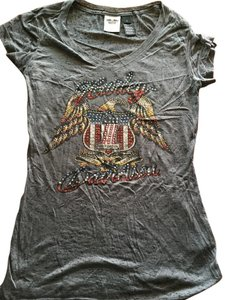 Harley Davidson Small Eagle America Motor Cycle T Shirt Gray
