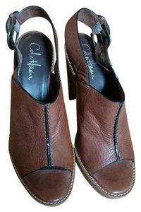 Cole Haan Cognac Leather Buckle Platform Peep Toe Brown Sandals