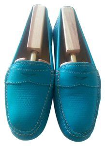 Peter Millar Vintage Leather Perforated Penny Loafer Turquoise Flats