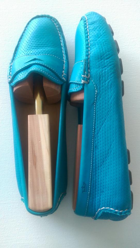 658b372f00b Peter Millar Vintage Leather Perforated Penny Loafer Turquoise Flats Image  5. 123456
