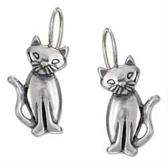 Unknown Sterling Silver Cat Earrings with Tilted Head on Wire