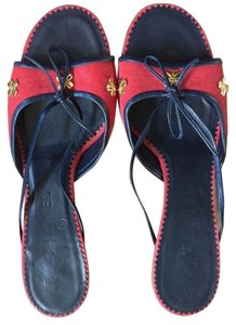 Chanel Slides Red and Navy Gold Chanel Clovers Sandals