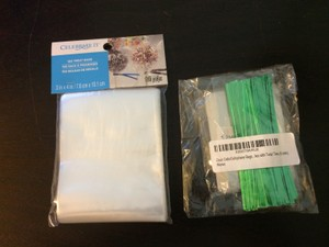 Lot Of Cellophane Treat Bags With Green Twist Ties