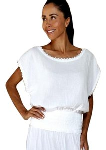 Lirome Bohemian Embroidery Summer Top White