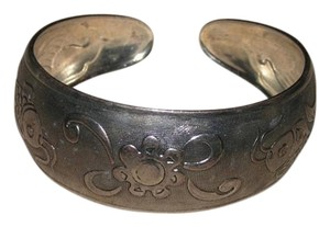 Fish and Flower Antiqued TIbet Silver Cuff Bracelet Free Shipping