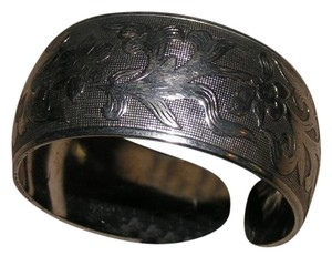 Other Tibet Silver Antiqued Lotus Flower Engraved Cuff Bracelet Free Shipping
