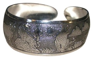 Other African Safari Tiger Antiqued Tibet Silver Cuff Bracelet Free Shipping