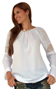 Lirome Bohemian Gauze Cotton Longsleeve Organic Top White