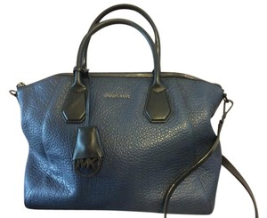 Michael Kors Leather Satchel in Blue (navy) and black