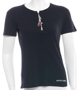Louis Vuitton Charm Monogram Lv Logo Silver Hardware T Shirt Black, Multicolor