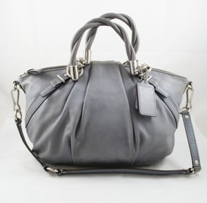 Coach Pleated Sophia Sparkle Satchel in Slate Gray