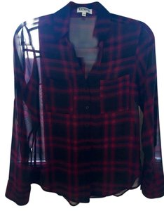 Express Button Down Shirt Black, Purple and Pink