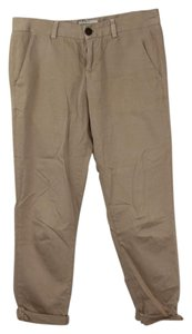 Current/Elliott Cropped Straight Pants Beige