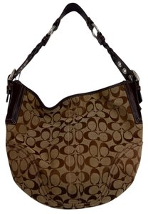 Coach Leather Cloth Signature Hobo Bag