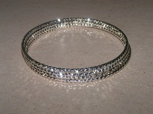 4pc Diamond Cut Sterling Plated Bangle Bracelets Free Shipping