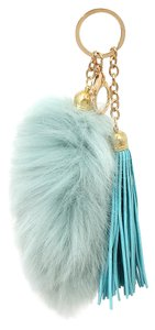Other Blue Fur Tail Pom Pom Suede Leather Tassel Bag/Purse Charm Key Chain Accessory