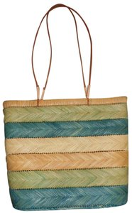 Coldwater Creek Straw Summer Beach Tote in teal, green, and natural