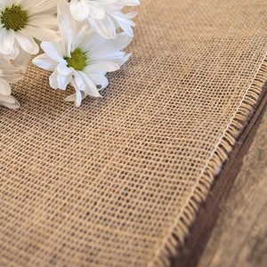 10 Burlap Fringed Table Runners 12.5