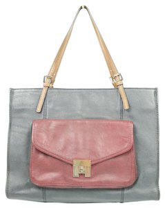 Tommy Hilfiger Color-blocking Leather Tote in Multi