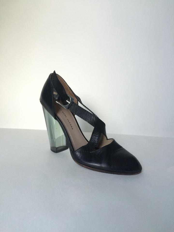 1a868f96e Marc by Marc Jacobs Leather Sandals With Lucite Heel Black Pumps. 1234