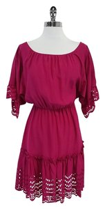 Cynthia Steffe short dress Fuchsia Burnout Trim Silk on Tradesy
