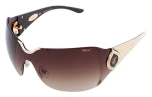 Chopard NEW Chopard SCH 883 Women Wrap-Around Shield 23 Karat Gold Sunglasses