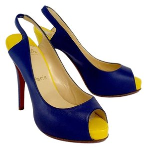 Christian Louboutin Navy & Yellow Color Block Slingbacks Sandals